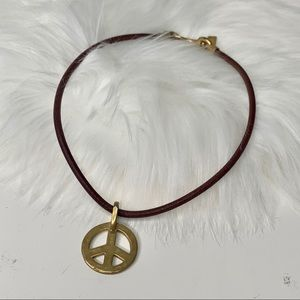 Coach gold peace sign necklace